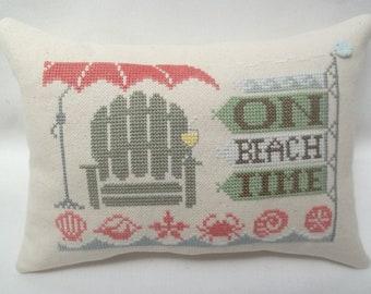 Beach Cross Stitch Mini Pillow, Seashells, Beach Chair, Beach Umbrella, Summer Shore, On Beach Time