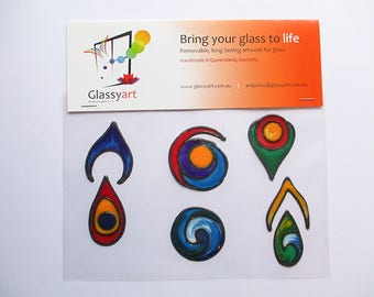 Bong Art Glassyart Geometric Shapes for Fun Glass clings Removable stickers