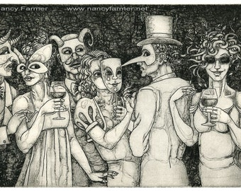 Original Etching: 'Is She Or Isn't She?' - a rare party-going Medusa, incognito, from an edition of 7 prints.