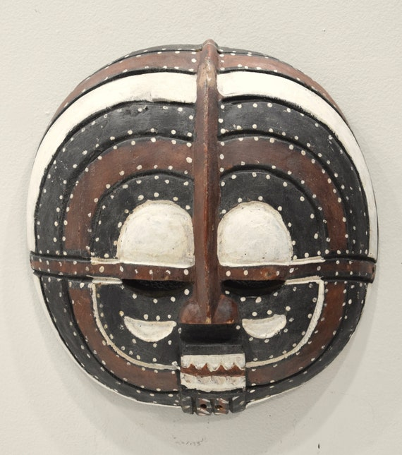 African Mask Colorful Round Closed Eyes Ivory Coast African Mask