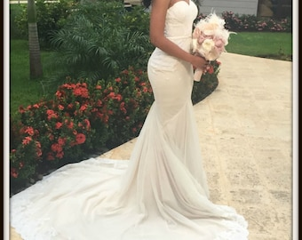 Ivory and Cream Wedding Dress Custom Made to your Measurements Stretch Bridal Gown, Beach Wedding