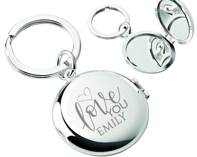 Engraved compact mirror keyring gift, personalised silver plated keychain, friend, girlfriend, mum, grandma, aunt, love you - L147-F2