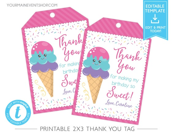 Ice Cream Party Thank You Tags, Ice Cream Birthday Favor Tags, Ice Cream Social Hang Tags, Ice Cream Thank You Instant Download Templett