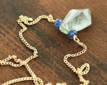 Moss Aquamarine Sapphire Necklace in Gold or Sterling Silver, Statement Necklace, Teal Blue March Birthstone Jewelry