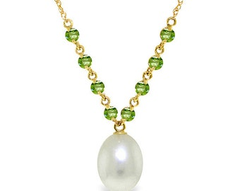 14K. solid gold necklace  with  NATURAL PERIDOTS & PEARL rose gold white gold yellow gold
