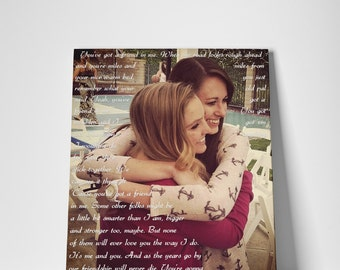 Gift for Bestfriend, Photo Art, Sisters by Heart, Wedding Gift for Sister, Birthday Gift, Canvas or Prints