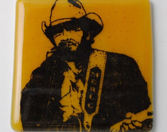 Merle Haggard Country Singer Songwriter Fused Glass Coaster Guitarist Bakersfield Sound Mama Tried