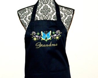 Grandma Apron, Butterfly, Custom Personalize Any Name, Mammy, Nana, Auntie, Nene, Mami, Gram, No Shipping Fee, Ready To Ship TODAY AGFT 089