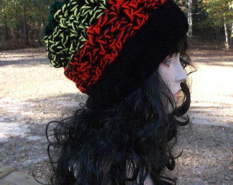 Crochet Hat, Slouch Hat, Winter Hat, Crochet Hat, Womens Hat, Crochet Mesh Hat, Chunky and Warm, Winter Hat in Red Black Green and Yellow