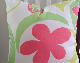 """Floral decorative pillow, 18"""" square, large print, citrine, lime green, coral, white"""