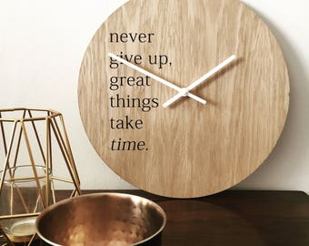 Never Give Up - Inspiring & Motivational Wall Art Clock Natural Wooden Face 30cm Made in the UK