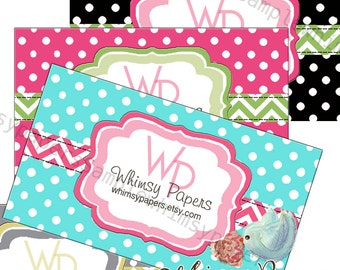 Chevron and Dots Business Cards with double sided print - FREE SHIPPING