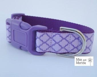 adjustable dog collar, Lavender and Purple Quatrefoil Lattice, pet gift, fur baby, Pet Owner Gift, Pampered Pet, Dog Accessories
