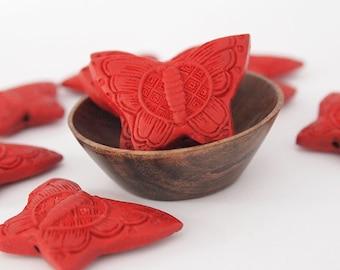 2 Butterfly Red Cinnabar Pendant  Size 25 x 36mm