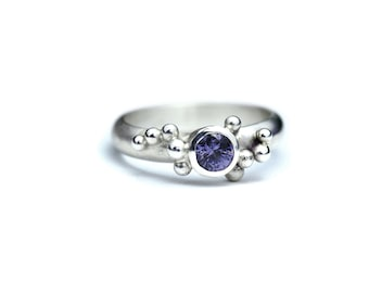 Purple Spinel Ring - Granulation Silver - Gemstone Jewellery - Spinel Engagement - Natural Gemstone  - Silversmith - Size 4