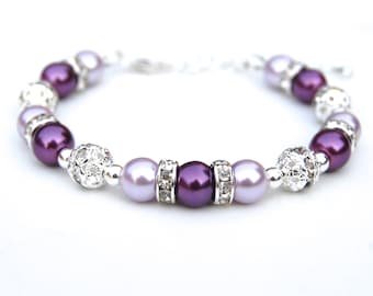 Purple Pearl Bracelet, Bridesmaid Gifts, Purple Wedding, Bridal Party, Lavender and Purple Jewelry