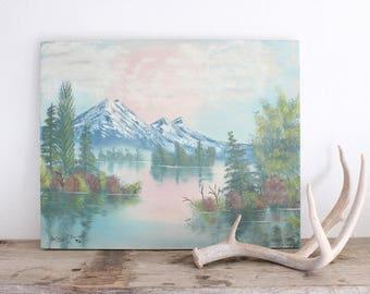 Vintage Oil Painting Mountain Landscape Original Painting Pastels Lake Mountain Spring Scene Boho Home Decor