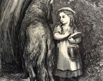 1870 RED RIDING HOOD Antique Engraving Gustave Doré Fontaines Fables