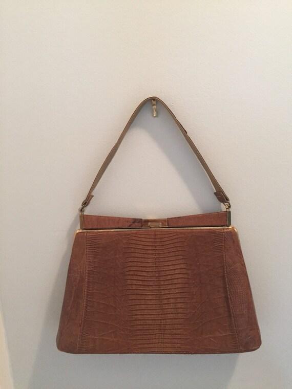 Vintage Mid-Century Light Brown Snakeskin Handbag with Gold Clasp - Top Handle Snakeskin Vintage Bag