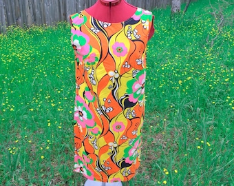 Vintage Mod 1960's Day Glo Pop Art Flower Power Shift Dress