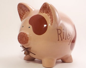 Brown Cow Piggy Bank - Personalized Piggy Bank - Ceramic Cow Bank - Chocolate Milk Piggy Bank - Moolah Bank - with hole or NO hole in bottom