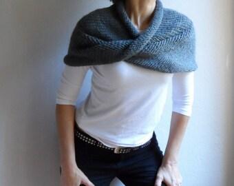 Knit Chunky Cape Hood Cowl Shawl Neckwarmer Loop Scarf Infinity Scarf Dark Gray Spring Fashion