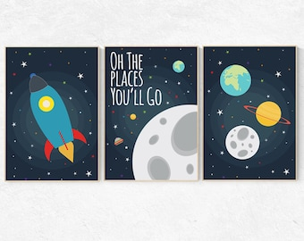 Oh the places you'll go, Space nursery decor, Space themed nursery, outer space, boys room wall art, baby boy, playroom, kids room
