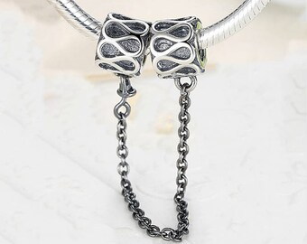 Raindrops Safety Chain Safety Chain with infinite bracelet charm 100% 925 Sterling Silver fit for Authentic pandora and european bracelets