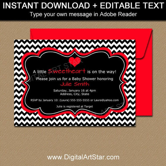 Valentines Day Invitation Template EDITABLE Valentine Baby - Valentine's day invitation template