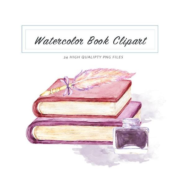 Watercolor Books Clipart- Educational Items Download, Graduation ...