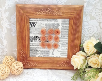 3D Flower Wall Art, Wall Picture, Wood Toned Frame, Hanging in Vintage Style, Roses of Organza Ribbon at Newspaper Basis, Memorable Gift