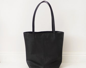Soft black simple leather tote bag