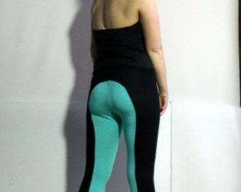 Handmade,Cotton / viscose lycra leggings. Aqua and black. All sizes, day wear, dance wear, yoga leggings.,  Made by Myyo.