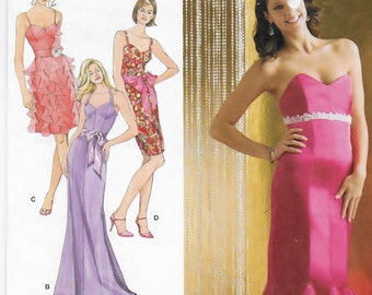 A Strapless/Spaghetti Strap/Halter Strap, Fitted Cocktail / Evening Dress Pattern with Variations: Uncut - Sizes 4 thru 12 ~ Simplicity 2639