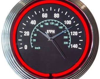 """Antique Style """" Speedometer """" with Red Neon Clock"""