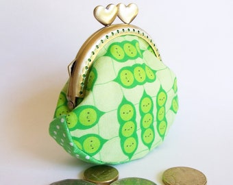 Green peas coin purse, kiss lock frame with hearts, cotton - ready to  ship