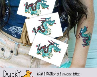 Set of 3 temporary tattoos Asian Dragon. Kids tattoos with Chinese traditional dragon. Chinese party favors and gifts. Year of dragon gift.
