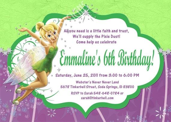 Tinkerbell Birthday Invitation Photo Option Customizable