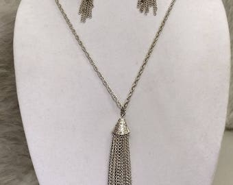 Silver tassel necklace with earrings...