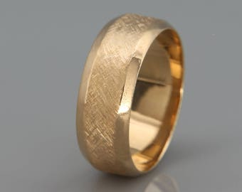 14k Solid Gold Men's Wedding Band in Rustic Beveled Style   14k solid gold beveled men ring   4mm 5mm 6mm 7mm