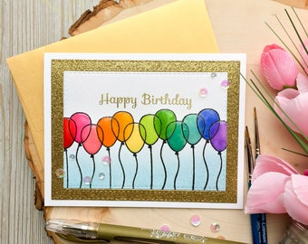 Handmade Birthday Card, Happy Birthday, Happy Birthday Card, Handmade, Birthday Balloons, Birthday Card, Gold Birthday Card, Watercolor Card