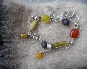 Colorful mixed stone and sterling silver link bracelet
