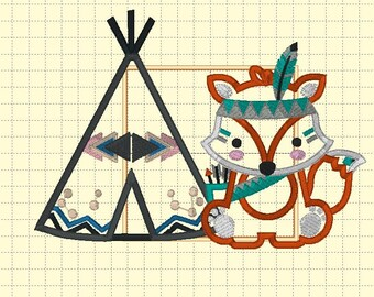 Tribal Animals and Teepee - Iron On or Sew On Embroidered Applique Patch