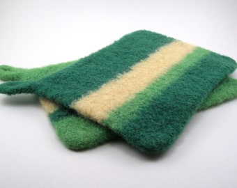 Felted wool potholders - wool trivets - potholder set - grass, spring green and butter yellow