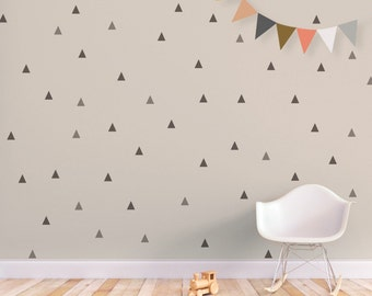 Triangle Wall Stickers Baby Wall Decal Removable Stickers Kids Wall Decal Baby Nursery Decor Gray Triangle. Little Peaks Children Wall Decal