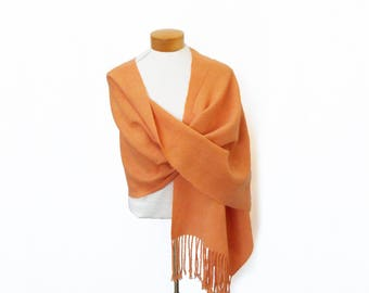 Handwoven Orange Shawl, Merino Wool Shawl, Orange Shawl Wool, Hand Woven Shawl, Handwoven Wrap, Peach Shawl Apricot, Handwoven Lace Shawl