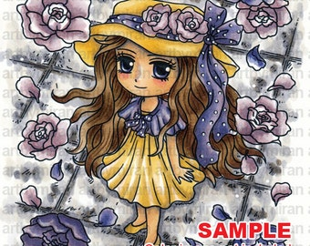 Digital Stamp - Flower Shower (#290), Digi Stamp, Coloring page, Printable Line art for Card and Craft Supply