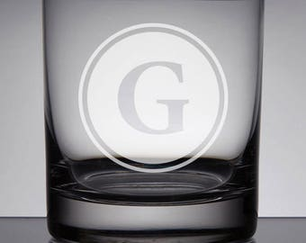 Monogram Whiskey Glass, Father's Day Gift, Groomsmen Gifts, Sandblasted Glass, Custom Wedding Gift, Engraved Rocks Glass, Best Man Gift