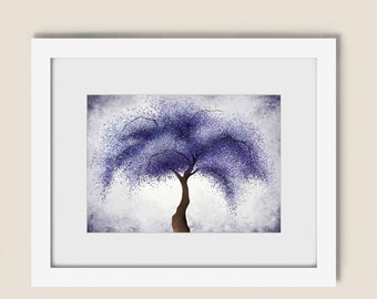 Dark Purple Decor Abstract Tree Wall Print 5 x 7, Nature Home Wall Art, Living Room Decor (114)