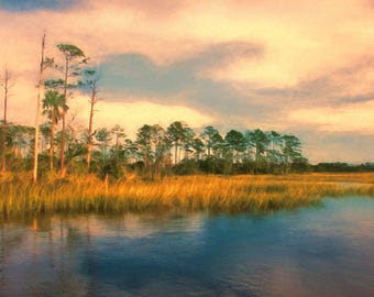 Marsh landscape on Canvas, Marsh Painting, Sunset, Water View, Intracoastal, Large Art, Coastal Art Print, Beach Decor, Coastal Decor, Marsh